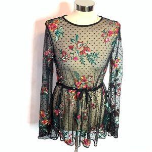 NWT Zara embroidered floral polka dot tunic top